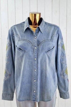 ODD MOLLY Damen Jeanshemd Hemd Denim Etno Bestickt Mod. SIDESADDLE SHIRT Gr.3/40