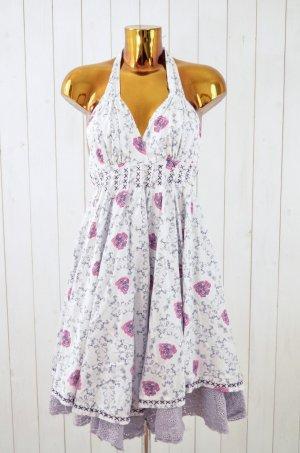 ODD MOLLY Damen Kleid Hängerchen Neckholder Weiß Pink Blau Rosen Print Gr. 2/38