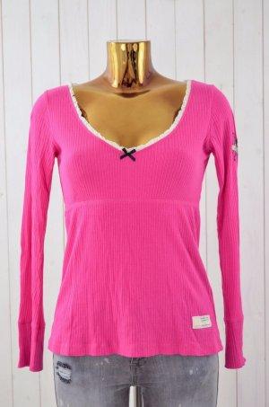 ODD MOLLY Damen Shirt Rippe Jersey Stretch Rüschen V-Ausschnitt Langarm Gr.1/36