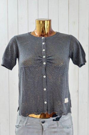 ODD MOLLY Damen Strickjacke Cardigan Baumwollegem. Grau Ajour-Muster Gr.1/36