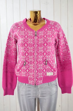 ODD MOLLY Damen Strickjacke Cardigan Norwegermuster Pink Weiß Wolle Gr.1/36