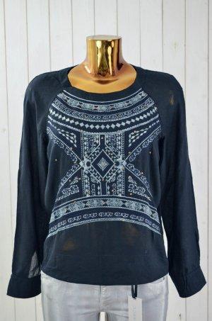 ODD MOLLY Damen Tunika Bluse Dunkelblau Ethno-Muster Baumwolle Bestickt Gr.1/36