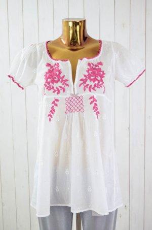 ODD MOLLY Damen Tunika Bluse Mod. Ariel Blouse Weiß Fuchsia Baumwolle Gr.1/36
