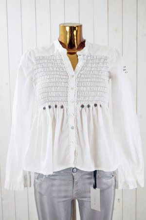 ODD MOLLY Damen Tunika Bluse Oberteil M212-327 Weiß Baumwolle Schleife Gr. 1/ S