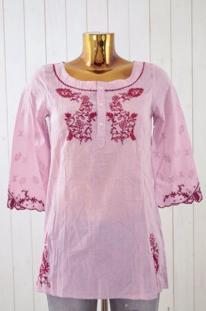 ODD MOLLY Damen Tunika Bluse Oberteil Mod. 964 Lite Pink Red Rosé Bestickt 1/ 36