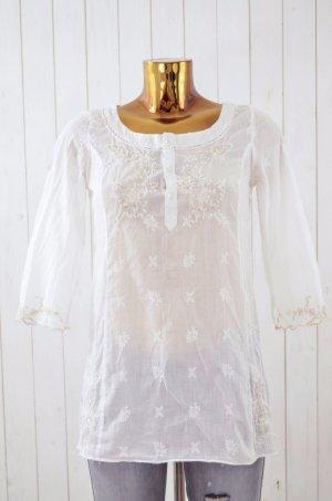 ODD MOLLY Damen Tunika Bluse Oberteil Mod. 964 White Weiß Bestickt Gr. 1/ 36