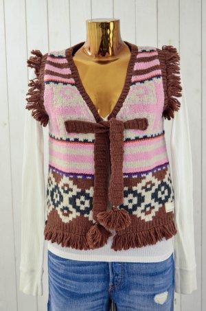 ODD MOLLY Damen Weste Strickweste Hippie Wolle Nylon Ecru Rosa Braun Gr.2/38