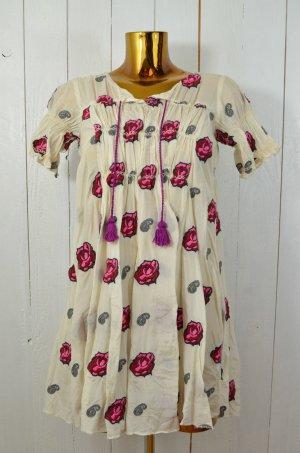 ODD MOLLY Kleid Hängerchen Mod. 859 Seide Baumwolle Offwhite Rot Pink Gr. 0/34