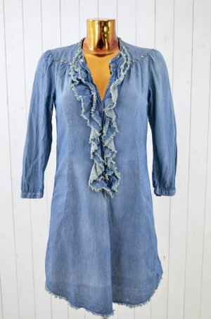 ODD MOLLY Kleid Jeanskleid Denim LOTTA DRESS Blau Jeans Print Nieten Gr. 1/ 36