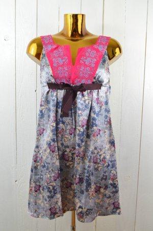 ODD MOLLY Kleid Seidenkleid Hängerchen Seide Muster Stickerei Pink Grau Gr. 1/36