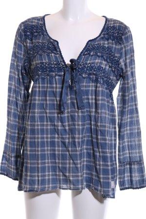 Odd Molly Langarm-Bluse blau-weiß Karomuster Casual-Look