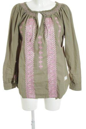 Odd Molly Langarm-Bluse olivgrün-rosa Ornamentenmuster Military-Look