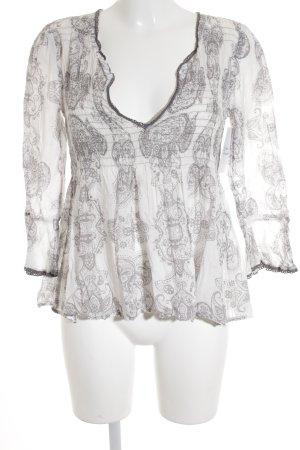 Odd Molly Langarm-Bluse weiß-grau abstraktes Muster Street-Fashion-Look