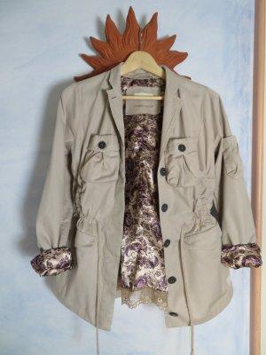 odd molly Parka Jacke mit Floral Spitzen Futter Gr. 2 38 M Sand Beige Übergangsjacke aus Baumwolle