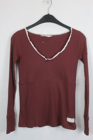 Odd Molly Shirt Pullover Gr. XS dunkelrot mit weißer Spitze (18/3/288)