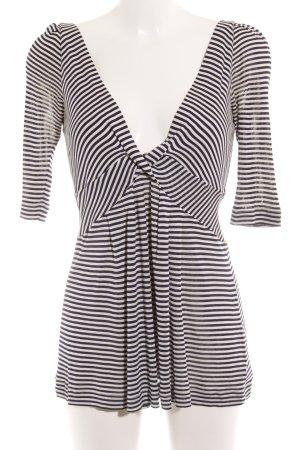 Odeeh V-Ausschnitt-Shirt wollweiß-dunkelblau Streifenmuster Casual-Look