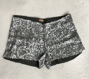 ODEON Pantalón corto negro-color plata Viscosa