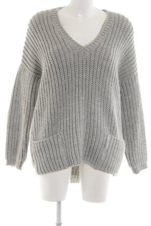 ODEON V-Ausschnitt-Pullover hellgrau meliert Casual-Look