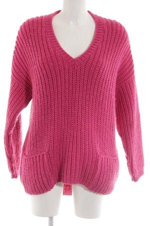 ODEON V-Ausschnitt-Pullover pink Zopfmuster Casual-Look