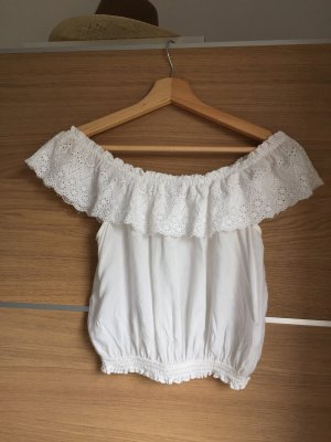 H&M Divided Lace Blouse white-natural white
