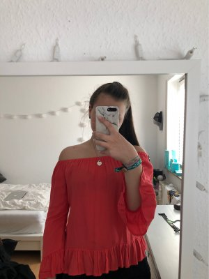 H&M Carmen Blouse bright red viscose