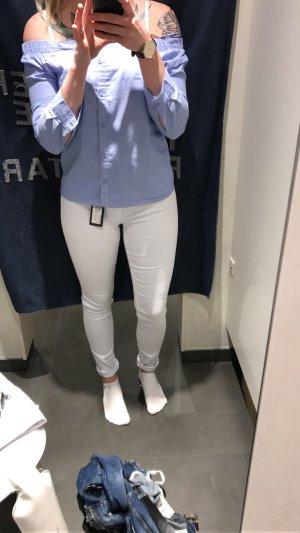 Off Shoulder Bluse Blau/Weiß Gestreift