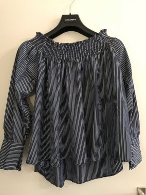Carmen blouse wit-blauw
