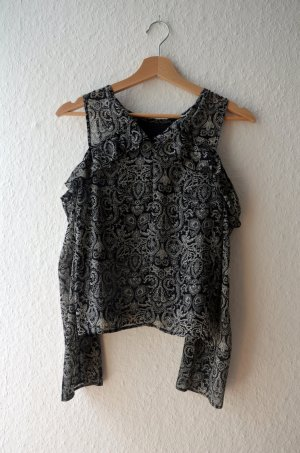Off-Shoulder Bluse im Prasleymuster