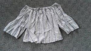 Carmen shirt wit-leigrijs