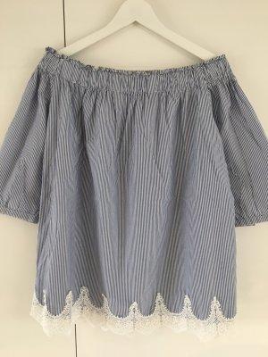 Darling Harbour Carmen blouse azuur-wit Katoen