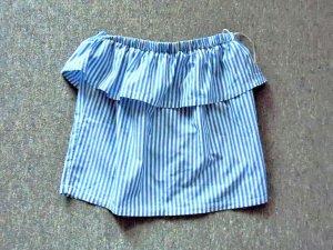 H&M Blusa alla Carmen bianco-blu fiordaliso