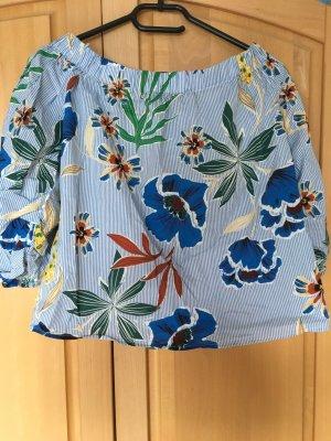 Zara Carmen blouse wit-lichtblauw