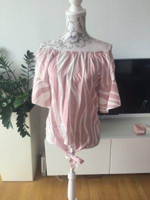 Off shoulder Bluse weiß rosa Gr L neu