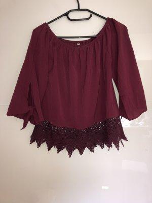 SheIn Carmen shirt bordeaux-donkerrood