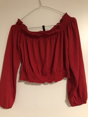 H&M Divided Cropped Top dark red
