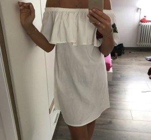 Off the shoulder jurk wit-rood