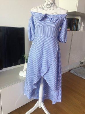 Off shoulder Kleid gestreift blau weiß Gr 38 neu