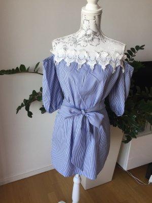 Off shoulder Kleid Gr L blau weiß gestreift NEU