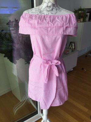 Off shoulder Kleid Gr L neu rosa weiß