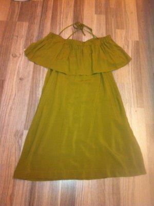 Off-Shoulder Kleid in olivgrün
