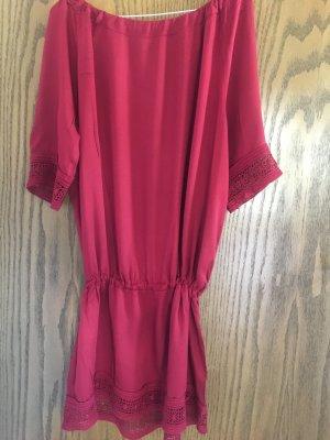 Zara Vestido strapless rojo oscuro