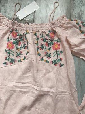 Off Shoulder Kleid mit Stickereien neu mit Etikett rosa