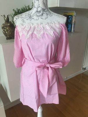 Off shoulder Kleid rosa weiß gestreift Gr S NEU