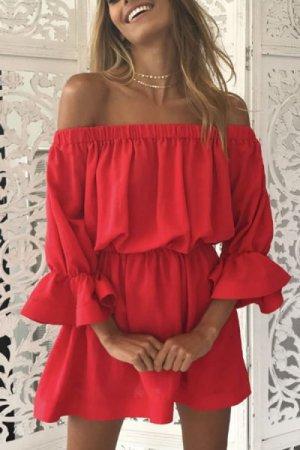 Off the shoulder jurk rood