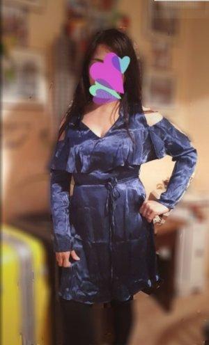 Mango Off the shoulder jurk blauw