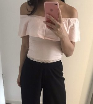 Bershka Off the shoulder top rosé-stoffig roze