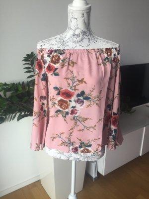 Off shoulder Oberteil Gr M/L rosa mit Blumen neu