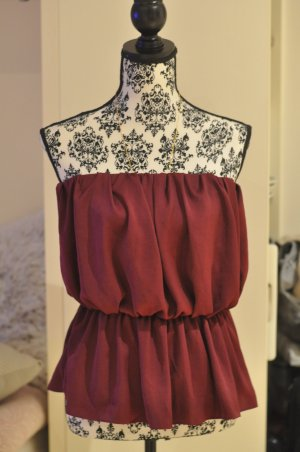 Off Shoulder Schulterfrei Bandeau Asos Weinrot Bordeaux Rot M 38 Top