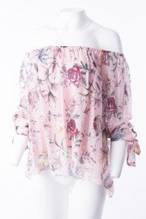 Off-Shoulder Seidenbluse mit floralem Print Rosa (One Size)