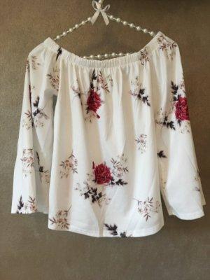Off Shoulder Shirt Bluse Blumenmuster beige rot weiß Gr. M